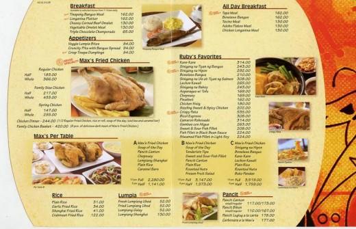 menu thực đơn nhà hàng